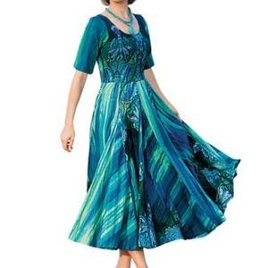 Draper's & Damon's Jade Crinkle-Cotton Flowy Dress